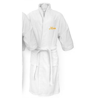 Mom Embroidered Railroad Bathrobe Color: Gold