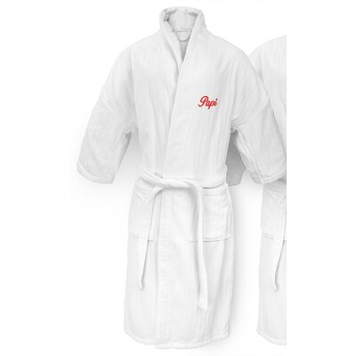 Papi Embroidered Railroad Bathrobe Color: Red
