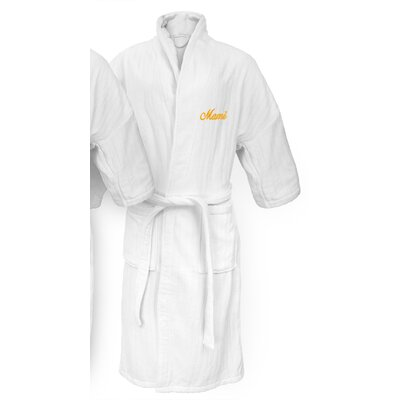 Mami Embroidered Railroad Bathrobe Color: Gold