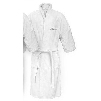 Mami Embroidered Railroad Bathrobe Color: Silver
