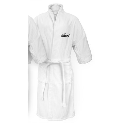 Mami Embroidered Railroad Bathrobe Color: Black