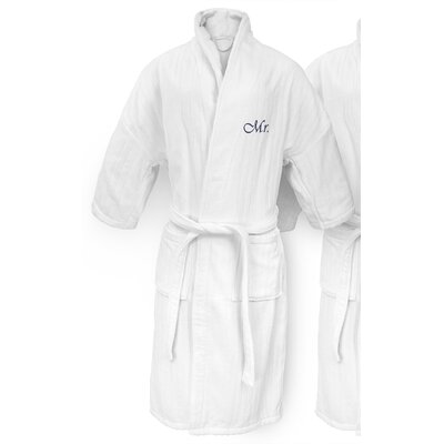 Mr Embroidered Railroad Bathrobe Color: Navy