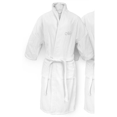 Mr Embroidered Railroad Bathrobe Color: Silver
