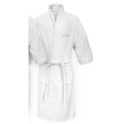 Mrs Embroidered Railroad Bathrobe Color: Silver