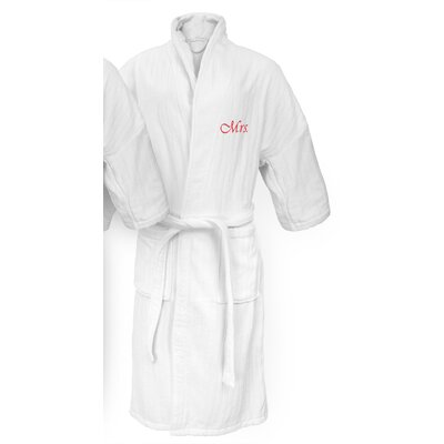 Mrs Embroidered Railroad Bathrobe Color: Red