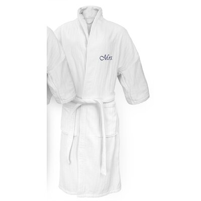 Mrs Embroidered Railroad Bathrobe Color: Navy