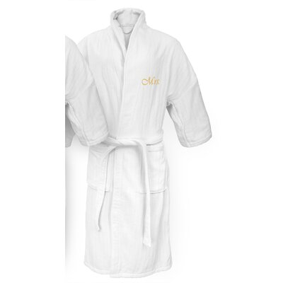 Mrs Embroidered Railroad Bathrobe Color: Gold