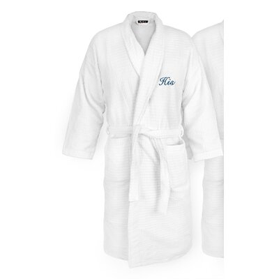 His Embroidered Sugarcube Bathrobe Color: Navy