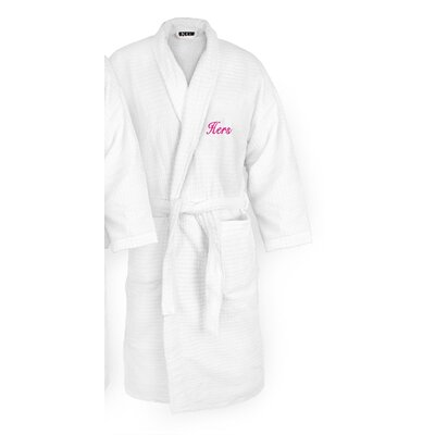 Hers Embroidered Sugarcube Bathrobe Color: Fuchsia