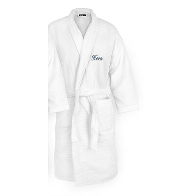 Hers Embroidered Sugarcube Bathrobe Color: Navy