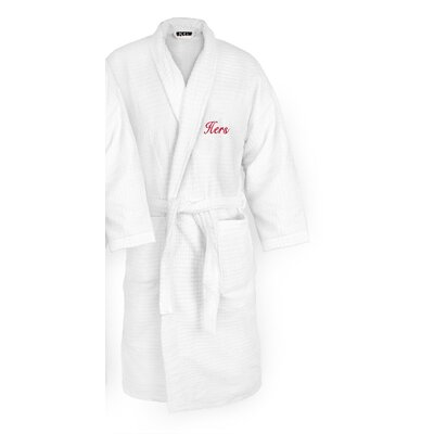 Hers Embroidered Sugarcube Bathrobe Color: Red
