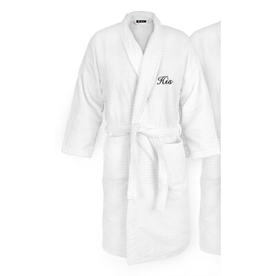 His Embroidered Sugarcube Bathrobe Color: Black