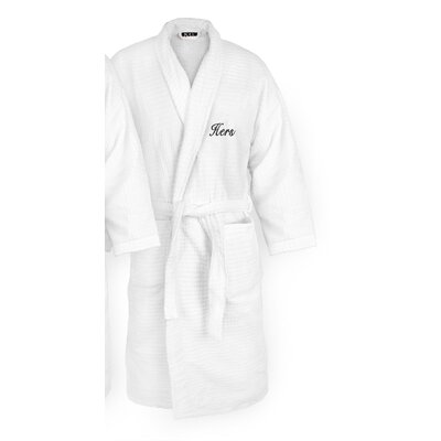 Hers Embroidered Sugarcube Bathrobe Color: Black
