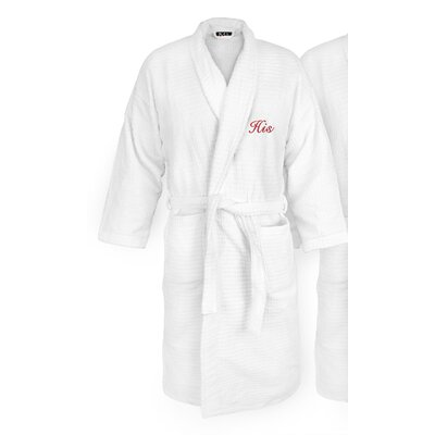 His Embroidered Sugarcube Bathrobe Color: Red