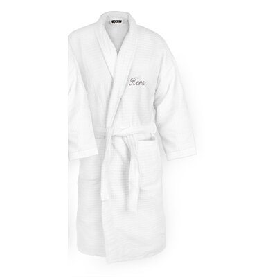 Hers Embroidered Sugarcube Bathrobe Color: Silver