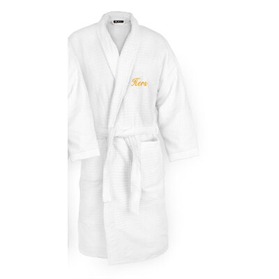 Hers Embroidered Sugarcube Bathrobe Color: Gold