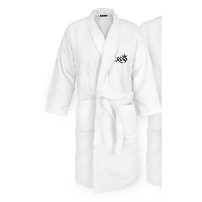 King Embroidered Sugarcube Bathrobe Color: Black