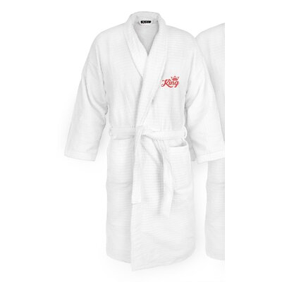King Embroidered Sugarcube Bathrobe Color: Red