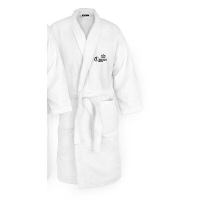 Queen Embroidered Sugarcube Bathrobe Color: Black