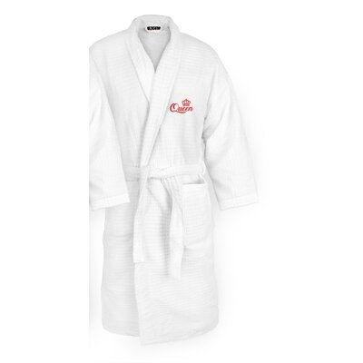 Queen Embroidered Sugarcube Bathrobe Color: Red