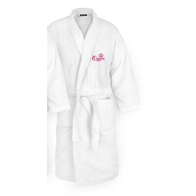 Queen Embroidered Sugarcube Bathrobe Color: Fuchsia