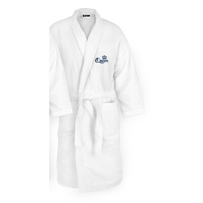 Queen Embroidered Sugarcube Bathrobe Color: Navy