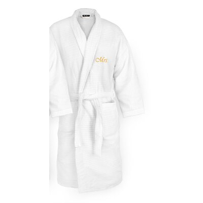 Mrs Embroidered Sugarcube Bathrobe Color: Gold