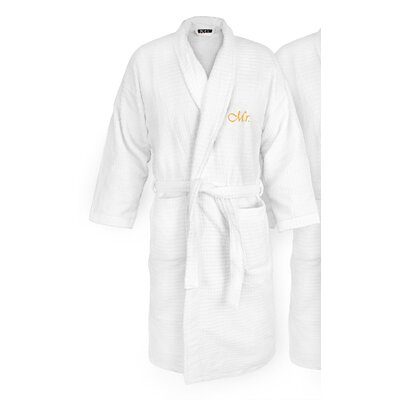 Mr Embroidered Sugarcube Bathrobe Color: Gold