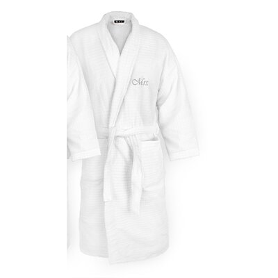 Mrs Embroidered Sugarcube Bathrobe Color: Silver