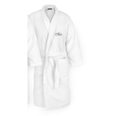 Mrs Embroidered Sugarcube Bathrobe Color: Navy