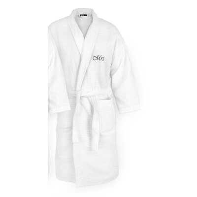 Mrs Embroidered Sugarcube Bathrobe Color: Black