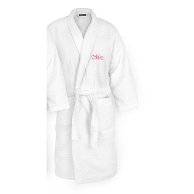 Mrs Embroidered Sugarcube Bathrobe Color: Red