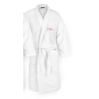 Mrs Embroidered Sugarcube Bathrobe Color: Fuchsia