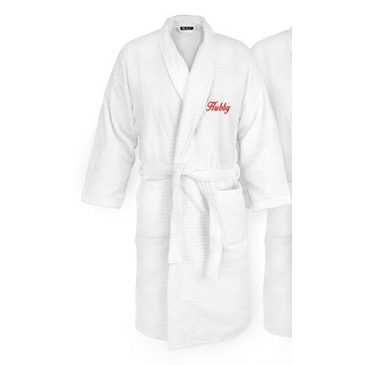Hubby Embroidered Sugarcube Bathrobe Color: Red