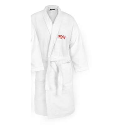 Wifey Embroidered Sugarcube Bathrobe Color: Red