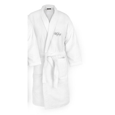 Wifey Embroidered Sugarcube Bathrobe Color: Silver