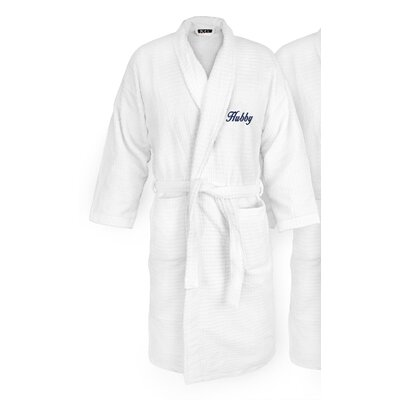 Hubby Embroidered Sugarcube Bathrobe Color: Navy