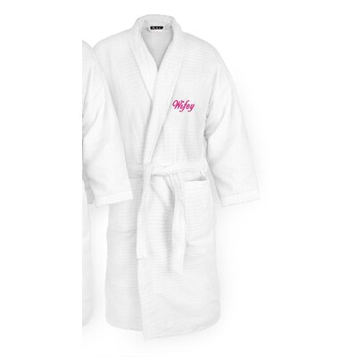 Wifey Embroidered Sugarcube Bathrobe Color: Fuchsia