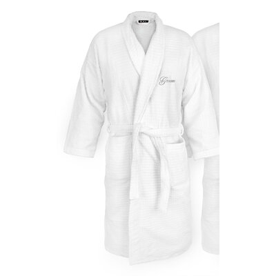Groom Embroidered Sugarcube Bathrobe Color: Silver