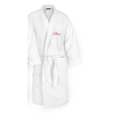 Bride Embroidered Sugarcube Bathrobe Color: Fuchsia