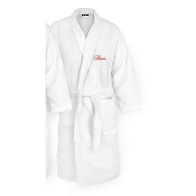 Bride Embroidered Sugarcube Bathrobe Color: Red