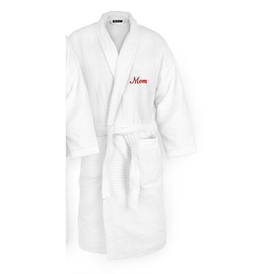 Mom Embroidered Sugarcube Bathrobe Color: Red