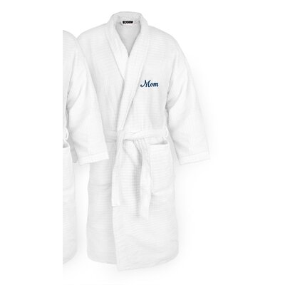 Mom Embroidered Sugarcube Bathrobe Color: Navy