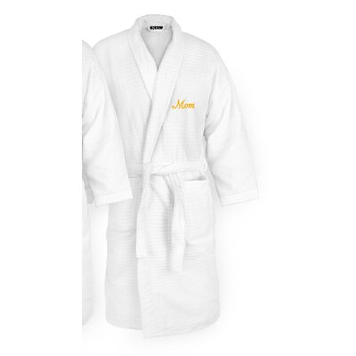 Mom Embroidered Sugarcube Bathrobe Color: Gold