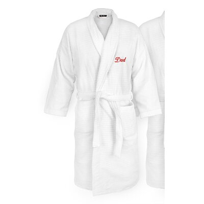 Dad Embroidered Sugarcube Bathrobe Color: Red