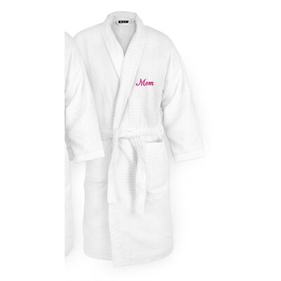 Mom Embroidered Sugarcube Bathrobe Color: Fuchsia