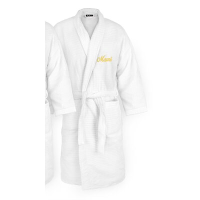 Mami Embroidered Sugarcube Bathrobe Color: Gold