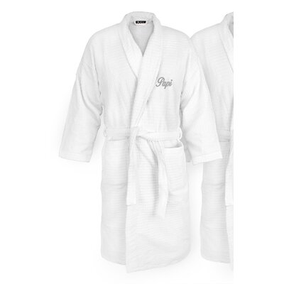 Papi Embroidered Sugarcube Bathrobe Color: Silver