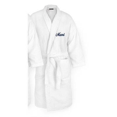 Mami Embroidered Sugarcube Bathrobe Color: Navy
