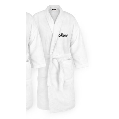 Mami Embroidered Sugarcube Bathrobe Color: Black